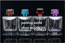 100ML square shape transparent clear glass bottle perfume atomizer bottle used for perfume packaging or perfume sprayer(China)