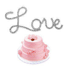 New Fashion Love Letter Rhinestone Diamanter Cake Topper Birthday Wedding Celebration Cake Decoration