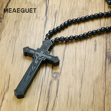 Meaeguet Large Wood Catholic Jesus Cross With Wooden Bead Carved Rosary Pendant Long Collier Statement Necklace Men Jewelry(China)