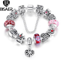 925 Silver Heart Charm Bracelet with Safety Chain for Women Original Jewelry Compatible with VRC Bracelets HJ1823