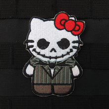 Hello Kitty  Jack Skellington Kitty Military Tactics Morale Embroidery patchess Badges B2648