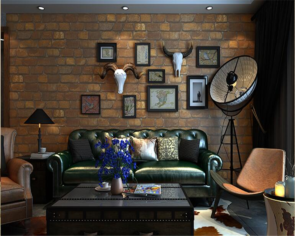beibehang fashion bricks pvc 3d wallpaper nostalgic culture personality stone sofa back restaurant bar papel de parede wallpaper<br>