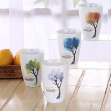 200ml Double mug Four Seasons Trees ceramic mug coffee milk mug(China)