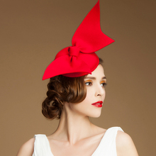 Vintage Lady Women black Wool Felt Pillbox Fascinator Party Wedding Hat with Bow Veil red /camel/black(China)