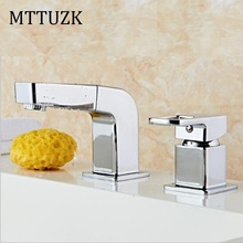 MTTUZK Free Shipping 2 Piece Bathroom put out Faucet Basin Faucets Deck Mounted Bathroom Tap Set 2 Hole Faucet Mixer  Crane