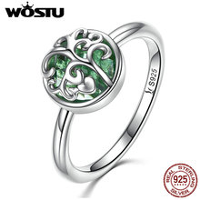WOSTU New Fashion Real 925 Sterling Silver Tree Of Life Radiant Finger Ring For Women S925 Fine Jewelry Gift CQR053(China)