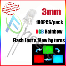 100PCS 2PIN 3MM RGB 7 color slow flash LED light-emitting diode (LED) New products and ROHS 3mm RGB 7 color slow flash LED