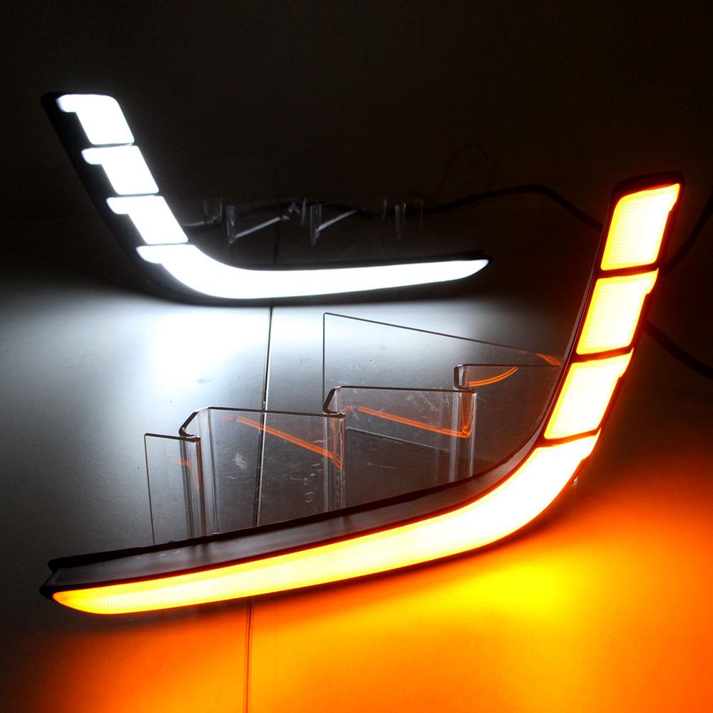 Daytime Running Light DRL for Suzuki Swift 2014 2015 2016 2017 Left and Right Fog Light White DRL Yellow Turning Signal Light<br>