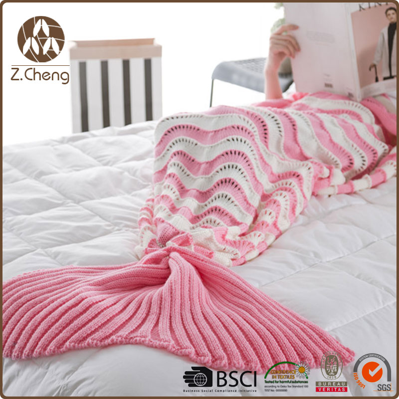 New Design Knitted Handmade Home Blanket Warm Popular Leisure Mermaid Tail Blanket Sleeping Bag<br><br>Aliexpress