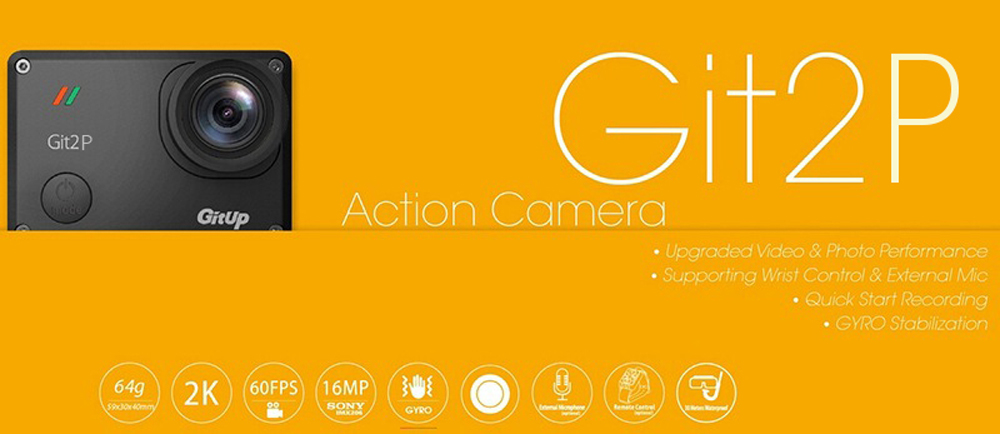 Gitup Git2P WiFi 2K 1080P HD Helmet Action Sports Camera HDMI USB 170 degree Angle+44Pcs Accessories
