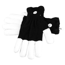 Magical 7-mode Colorful LED Gloves Rave Light Finger Lighting Flashing Gloves Unisex Gloves - One Pair (Black+White)(China)