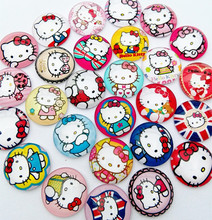 30pcs KT picture random Round Hello Kitty Glass Cabochon 20mm Flatback for Necklace Pendant/Hair Bow DIY accessory Center(China)
