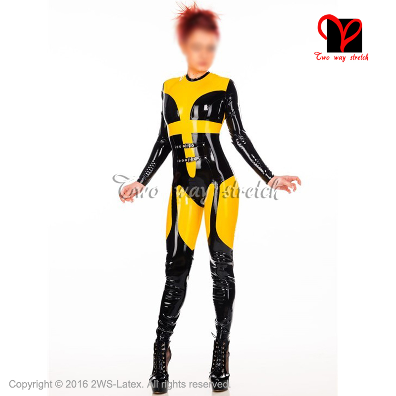 Sporty Sexy Latex Catsuit Front Belts Zippe Back Rubber bodysuit Jumpsuit overall zentai tights body suit LT-099