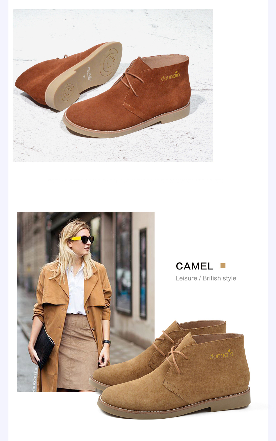 Donna-in Fashion Martin Boots Women Adult Autumn Spring 2019 Ankle Boots Suede Leather Lace-up Casual Low Heel Shoes Women (13)