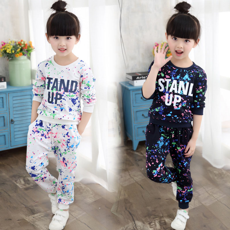 girls clothes 2017 set girl autumn long-sleeved shirt and track pants suit Kids Fashion casual wear sportswear clothing sets<br><br>Aliexpress