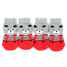 Sweet 4pcs Pet Small Dog Shoes Socks Anti-slip Warm Socks Cotton Knit Socks Skid Bottom