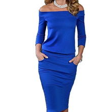 2017 New Style Elegant Summer Dress 3/4 Sleeve Slash Neck Womens Sexy Ladies Dresses Casual Party Night Blue Black Club Dress