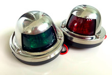 2pcs Green and Red Marine Boat Yacht LED Light 12V Stainless Steel Bow Navigation Lights