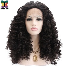 HAIR SW Long Deep Wave High Temperature Fiber Lace Front Wigs Synthetic Natural Black With Baby Hair Free Part For Black Women
