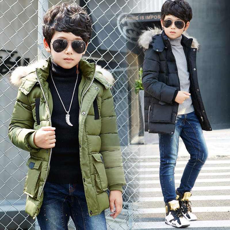 2017 NEW Children Outerwear Coat Fashion Kids Clothes Cotton Windproof Parkas Jackets For Boys  5-16Y 2 Colors Winter and AutumnÎäåæäà è àêñåññóàðû<br><br>