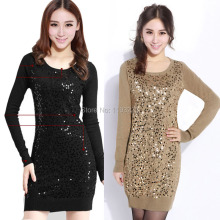Women Lady Sexy Sequins BlingBling O Neck Bodycon Knitted Knitwear Sweater Dress Mini Dress(China (Mainland))