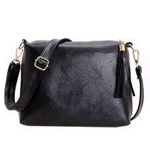 New Fasion Women PU Leather Lady Tassel leisure Satchel Pack Lady Crossbody Shoulder Messenger Bag Candy Color Bags For Women