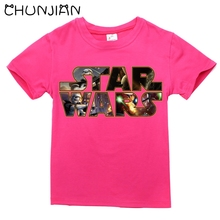 CHUNJIAN hot selling new summer short sleeve cotton t shirts boys star war cartoon teenage big children t-shirt kids tops