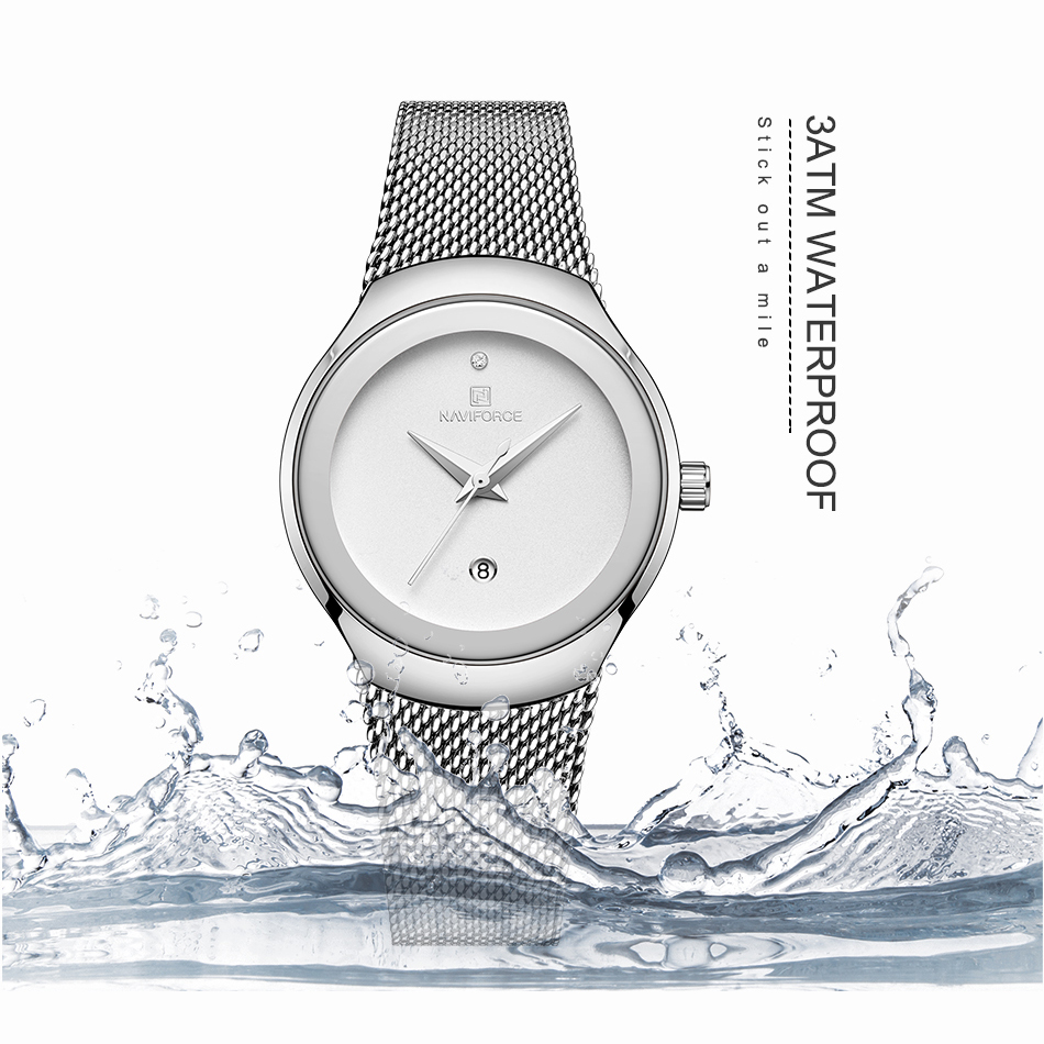 NAVIFORCE Women Watches Top Luxury Brand Lady Fashion Casual Simple Steel Mesh Strap Wristwatch Gift for Girls Relogio Feminino (4)