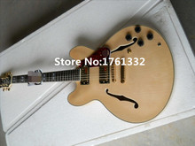 Musical instrument natural wood color semi-hollow double f holes JAZZ electric guitar with red pearl pickguard,can be changed