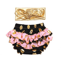 New born Baby bloomers Gold dot Baby girls shorts+gold Headband clothes sets baby diaper covers infant shorts ruffles bloomers(China)