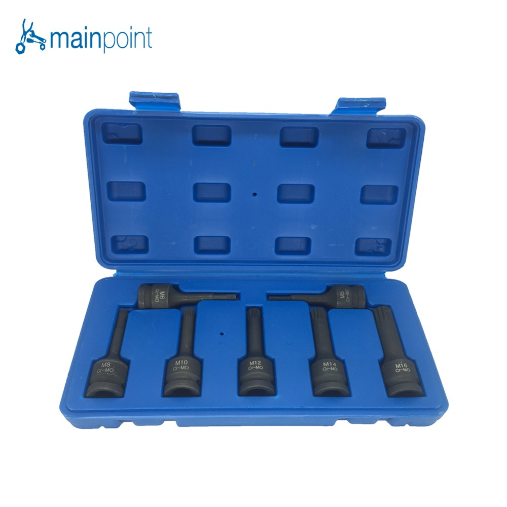 Mainpoint 1/2 Drive Impact Spline Bit Socket Set 7Pcs Cr-Mo M5 M6 M8 M10 M12 M14 M16 Long Black Impact Socket Bits Sets Tools<br>
