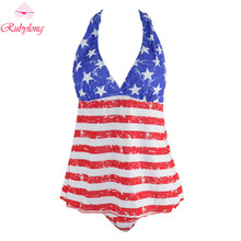 Rubylong 2017 Newest USA Flag Printed Two-Piece Suits Women Halter Swimwear Tankini Sets Plus Size Split Swimsuit Beachwear