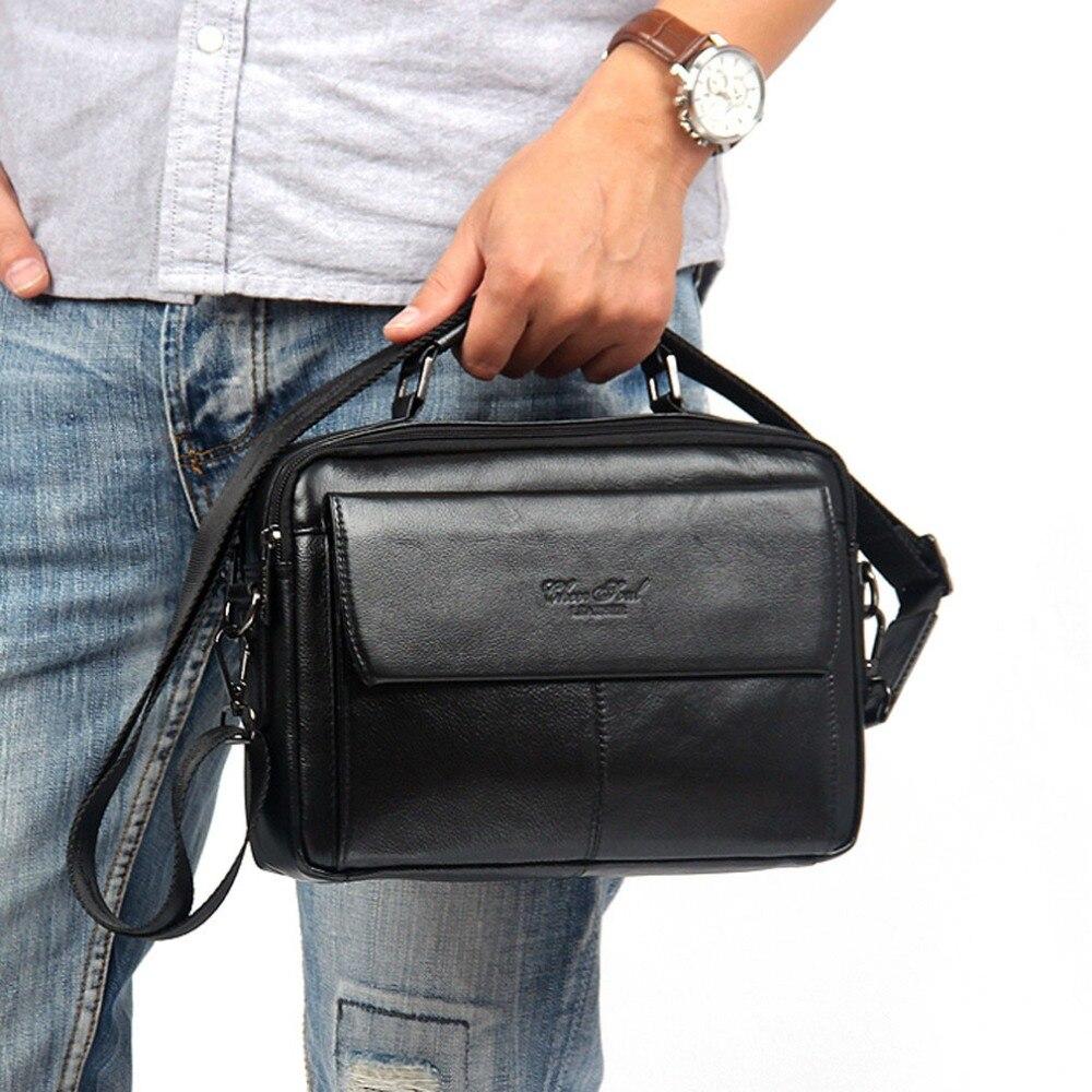 New 2017 Mens Handbags Genuine leather First layer Cowhide fashion Handbag Vintage Shoulder Messenger Bags wallet Business Bag<br>
