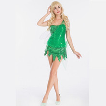 Wholesale Green Fairy Costumes Custom Made Adult Princess Tinkerbell Dress Fancy Dress Movie Cosplay Costume(Include Wings)