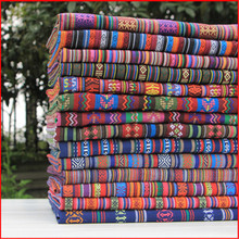 100x150cm Cotton Polyester Blend Ethnic Style Stripe Fabric DIY Scarf Table Cover Cushion(China)