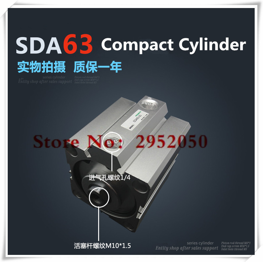 SDA63*80 Free shipping 63mm Bore 80mm Stroke Compact Air Cylinders SDA63X80 Dual Action Air Pneumatic Cylinder<br>