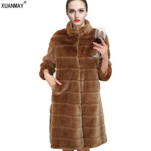 Autumn and winter new Women fake fur coat In the long section Slim long sleeves Fashion high-end Thick warm Artificial fur coat