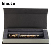 Kicute Retro Classical Medium Nib Gold And Black Metal Fountain Ink Pen With Gift Box Writing Smoothly Office Business Supply
