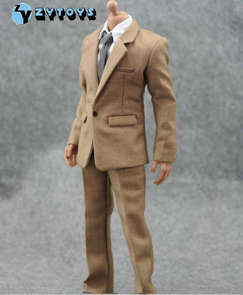 New Hot ZY Toys 1/6 Scale Male Suit Clothes Khaki Formal Dress Shirt Pants For 12 Action Figure Doll Collections Gifts D<br><br>Aliexpress