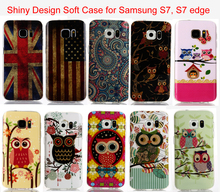 For Samsung Galaxy S7 Edge Case Soft TPU Silicone IMD Cute Cartoon OWL US UK Flag Shiny Glister Phone Cover Shell for Samsung S7(China)