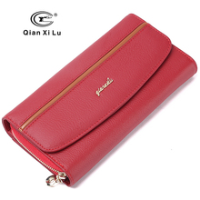 GIFT BOX Packing Genuine Leather Women's Purses Organizer Wallet Female Phone Wallets Card holder carteira feminina(China)