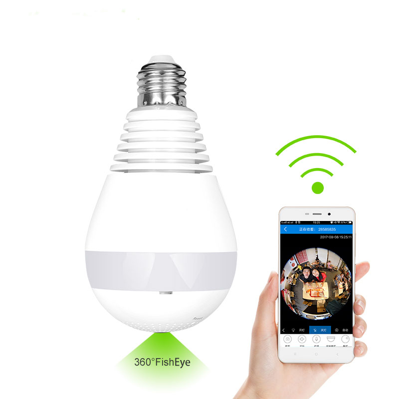 960P 360 degree Wireless IP Camera LED Bulb Lamp Mini Wi-Fi CCTV Alarm Camera IP Panoramic Smart Home Security 3D VR Camera<br>