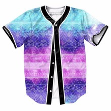 US Size Gradient Stripes Streetwear Button Overshirt Mens Hip Hop Tees Hipster Style Baseball Jersey Tops Brand Shirts(China)