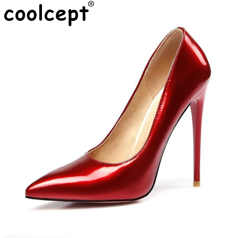 Women Fashion Pointed Toe Heels Shoes Woman Sexy Shallow Mouth Stiletto Woman Patent Leather Wedding High Heel Pumps Size 34-47<br>