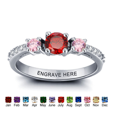 Best Gift Personalized 925 Ring Couple DIY Love Promise Simple 925 Sterling Silver 12 Birthstone Ring(China)