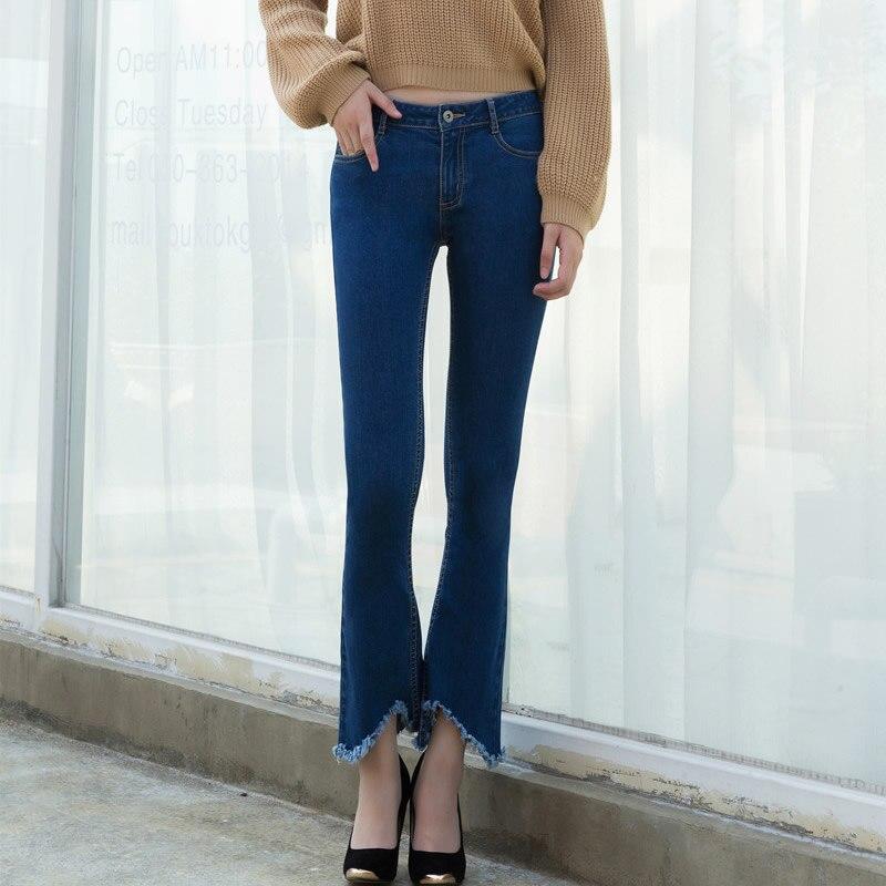 Denim bell-bottom Women Jeans frayed boyfriend jeans for women black dark blue pantalon femme jardineira feminina mom jeansОдежда и ак�е��уары<br><br><br>Aliexpress