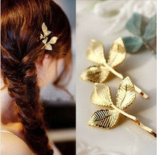2014 New Fashion Greek style Hair Jewelry, Vintage Wedding Accessories Hairwear Gold/Blue Leaf Design Hairpin For Girl Women J12