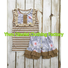 Wholesale children's boutique clothing floral and stripe baby girl clothes sets children's outfits