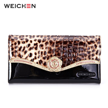 WEICHEN 100% Cow Genuine Leather Flower Leopard Women Clutch Wallets, Long Alligator Elegant Women's Wallets Female Ladies Purse(China)