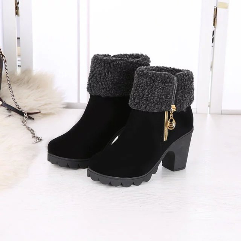 2016 Autumn and Winter Section of The Side Zipper In The Boots Female Two To Wear Non-slip Rough with Snow Boots<br><br>Aliexpress